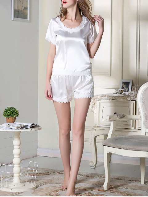 outfits Satin Scoop Tee Boxer Pajama - WHITE 2XL Mobile