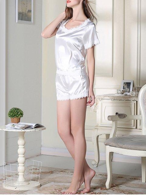 shop Satin Scoop Tee Boxer Pajama - WHITE XL Mobile