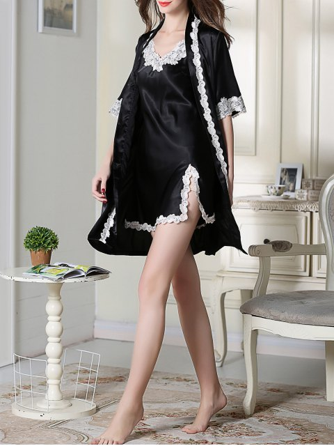 online Satin Slip Dress and Belted Sleepover Robe - BLACK 2XL Mobile