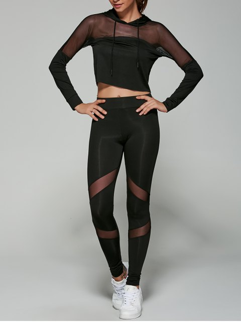 unique Cropped Hoodie with Mesh Leggings - BLACK L Mobile