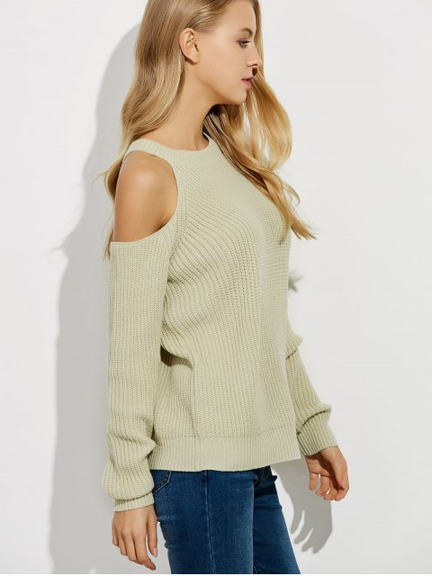 womens Cold Shoulder Crew Neck Ribbed Sweater - BEIGE XL Mobile