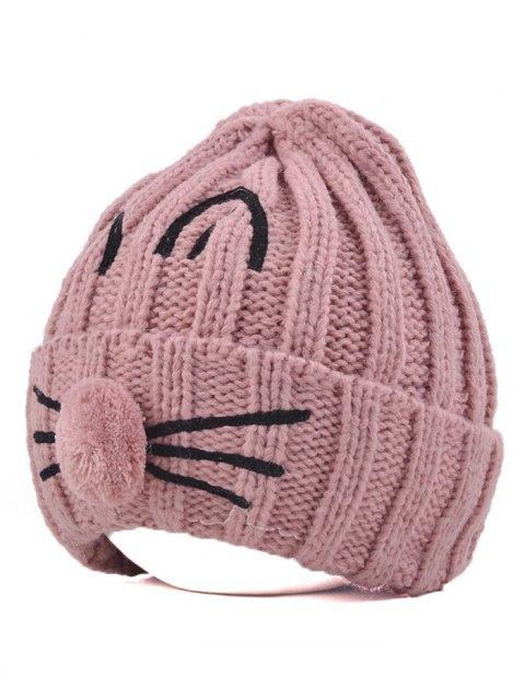 outfits Cat Beard Pom Ball Stripy Beanie - PINK  Mobile