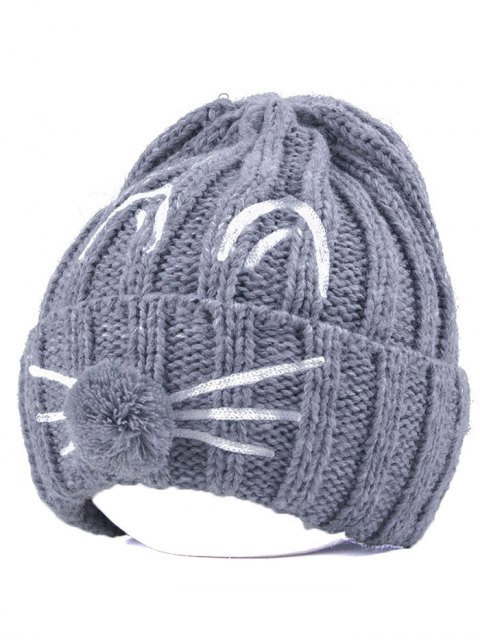 shop Cat Beard Pom Ball Stripy Beanie -   Mobile