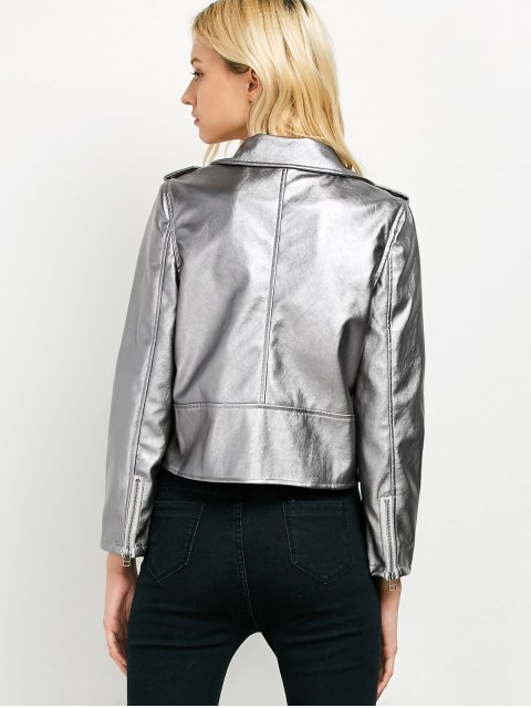 trendy Cropped Motorcycle Jacket - FROST XL Mobile