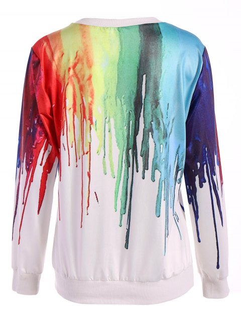 shop Oversized Splatter Paint Sweatshirt - WHITE ONE SIZE Mobile