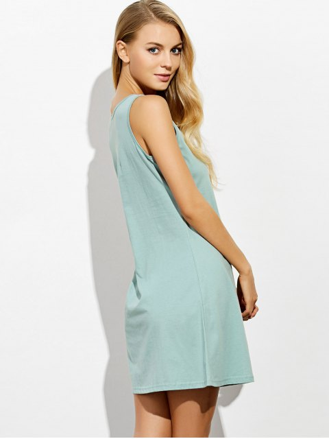 shop Letter Print Casual Night Dress - LIGHT GREEN S Mobile
