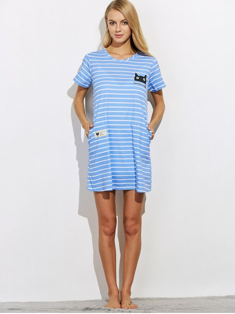 trendy Casual Striped Night Dress - BLUE L Mobile