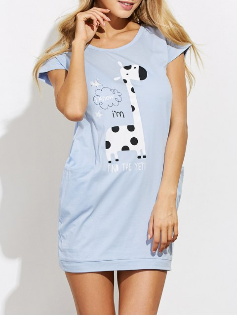 buy Cartoon Print Casual Night Dress - LIGHT BLUE S Mobile