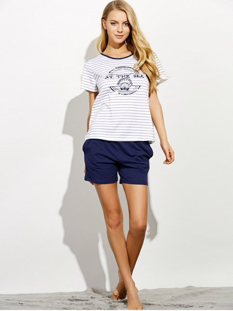 online Printed Striped T-Shirt and Casual Shorts - GRAY L Mobile
