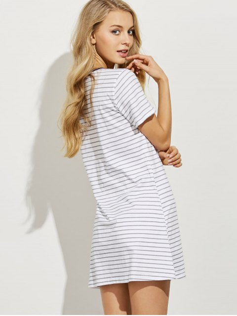 women Striped Casual Night Dress - LIGHT GRAY XL Mobile