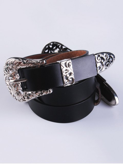 latest Openwork Double Buckle Faux Leather Belt -   Mobile