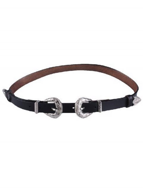 trendy Embossed Double Buckle Faux Leather Belt - BLACK  Mobile