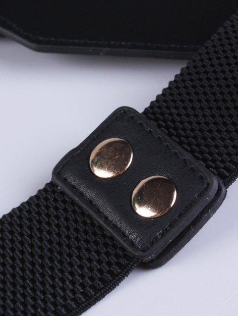 women Double Buckle Elastic Waist Belt - BLACK  Mobile