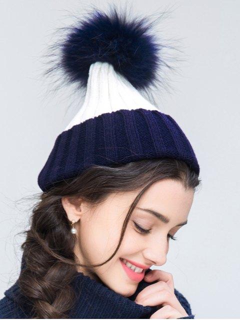 women's Knit Ribbed Pom Hat - CADETBLUE  Mobile