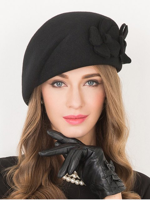 ladies Flower Applique Wool French Beret -   Mobile