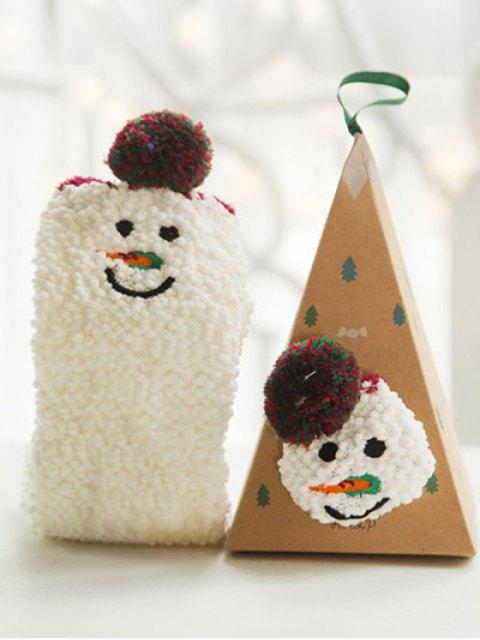 Chaussette en corail cachemire à motif bonhomme de neige - Blanc  Mobile