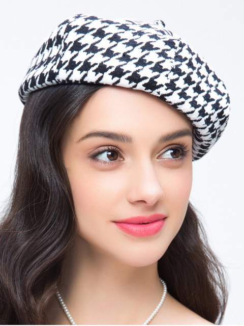 best Houndstooth Painter Beret - WHITE AND BLACK  Mobile
