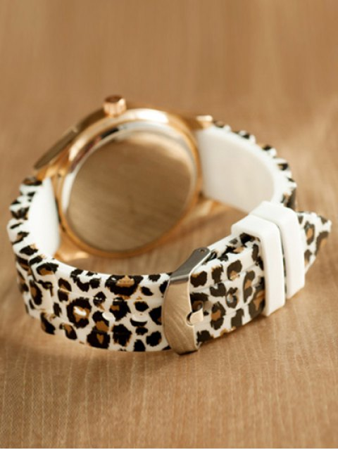 fashion Leopard Silicone Band Quartz Watch - WHITE  Mobile