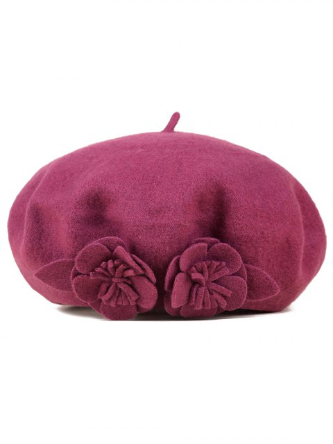 outfits Flower French Painter Beret - BURGUNDY  Mobile
