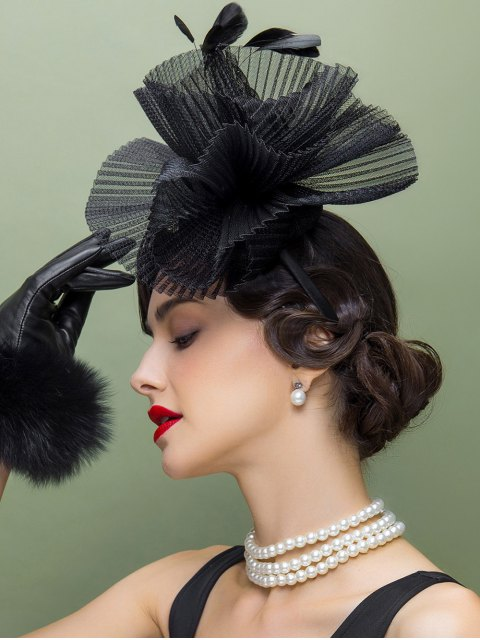 shop Feather Lace Trim Church Hat - BLACK  Mobile