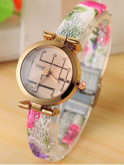 womens Rhinestone Analog Quartz Watch - WHITE  Mobile