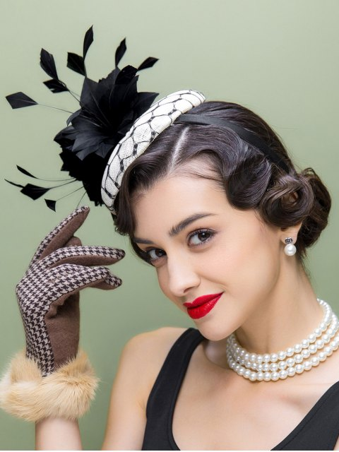 shops Flower Feather Pillbox Hat -   Mobile