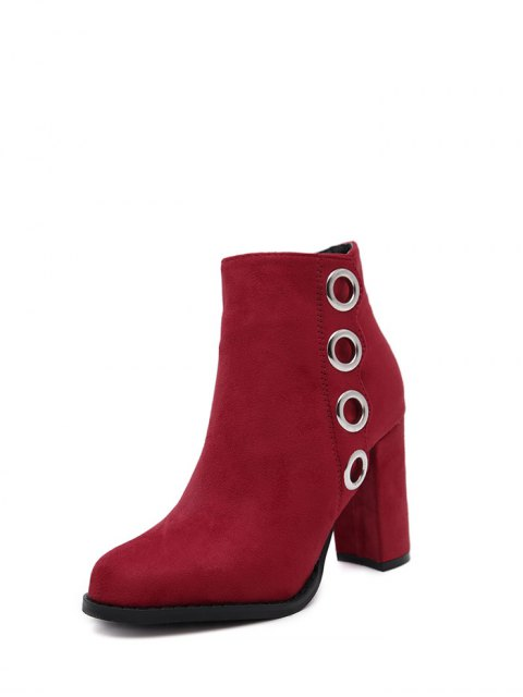 new Zip Chunky Heel Metal Ring Ankle Boots - RED 39 Mobile