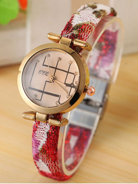women's Rhinestone Analog Quartz Watch - RED  Mobile