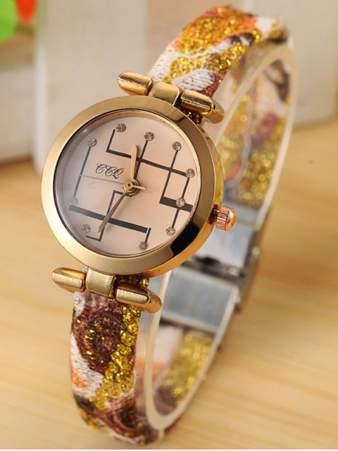 lady Rhinestone Analog Quartz Watch - GOLDEN  Mobile