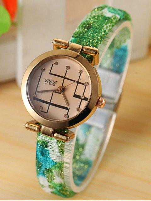 best Rhinestone Analog Quartz Watch - GREEN  Mobile