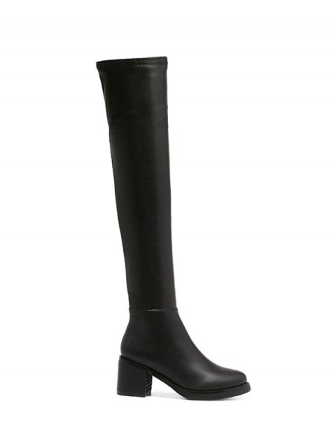 latest Platform Zipper Rpund Toe Thigh Boots - BLACK 39 Mobile