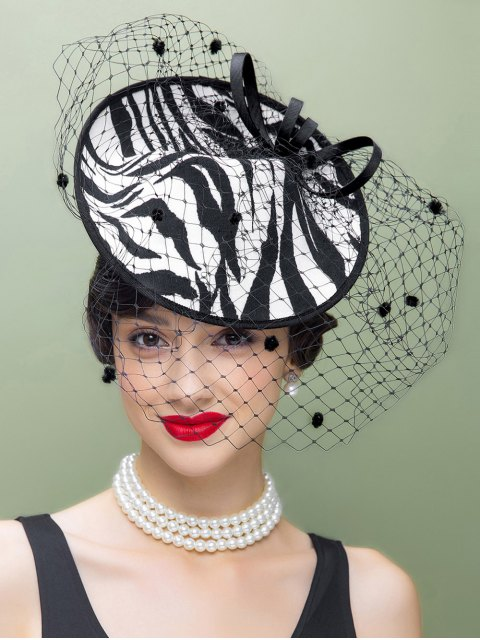 fashion Veil Zebra Striped Fascinator Cocktail Hat - WHITE AND BLACK  Mobile