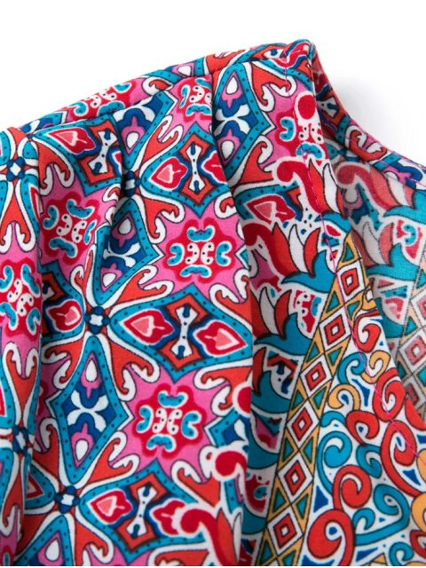 affordable Retro Printed V Neck Tunic Dress - COLORMIX L Mobile