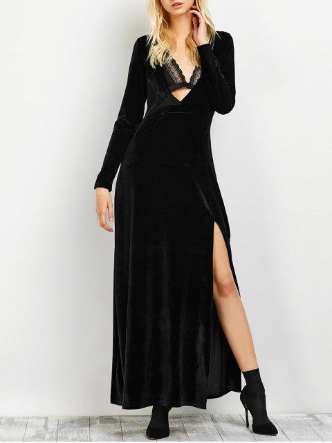 affordable Long Sleeve High Slit Low Cut Maxi Dress - BLACK S Mobile