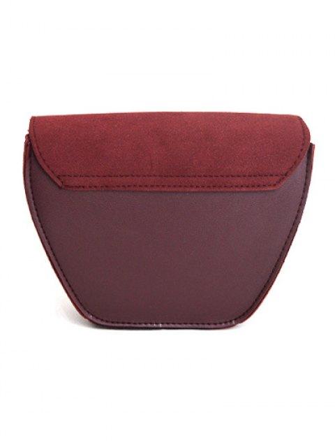 latest Suede Panel Metallic Tassel Crossbody Bag - WINE RED  Mobile