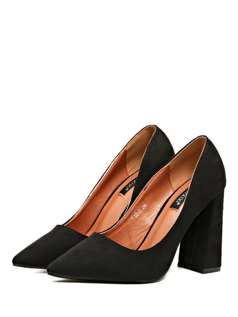sale Suede Pointed Toe Chunky Heel Pumps - BLACK 38 Mobile