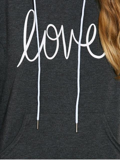 buy Casual String Printed Hoodie - DEEP GRAY XL Mobile