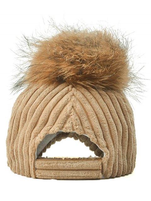 women's Pom Ball Corduroy Baseball Hat - LIGHT KHAKI  Mobile