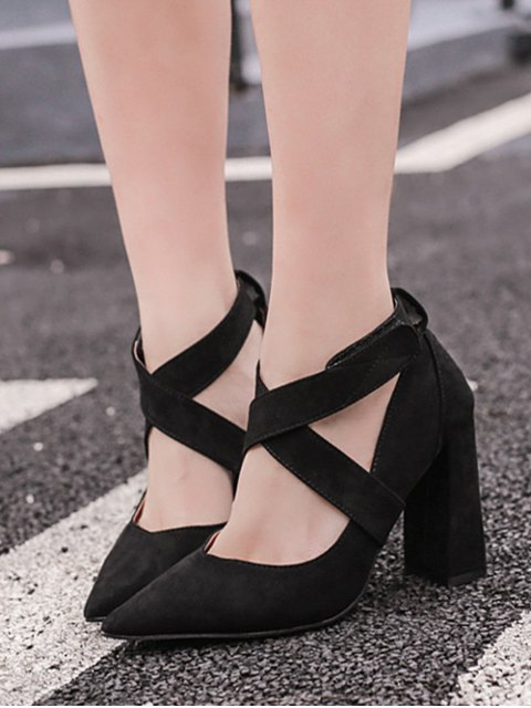 womens Cross Straps Chunky Heel Pointed Toe Pumps - BLACK 38 Mobile