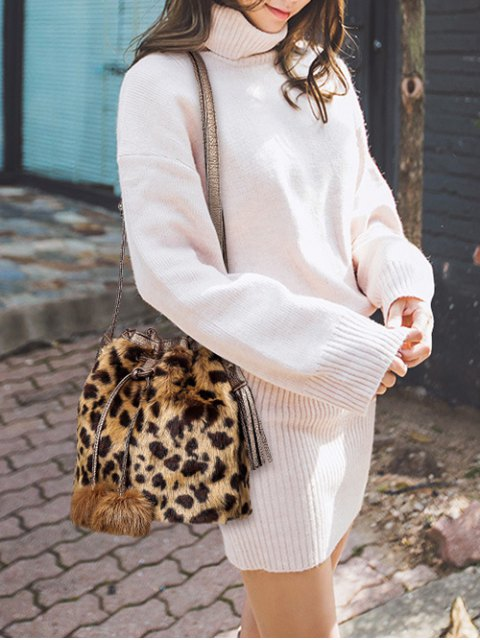 sale Pompon Leopard Furry Bucket Bag - BROWN  Mobile