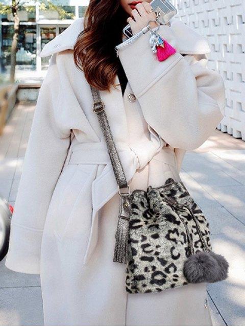 affordable Pompon Leopard Furry Bucket Bag - GRAY  Mobile
