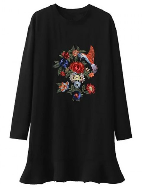 trendy Sequins Floral Embroidered Dress - BLACK L Mobile