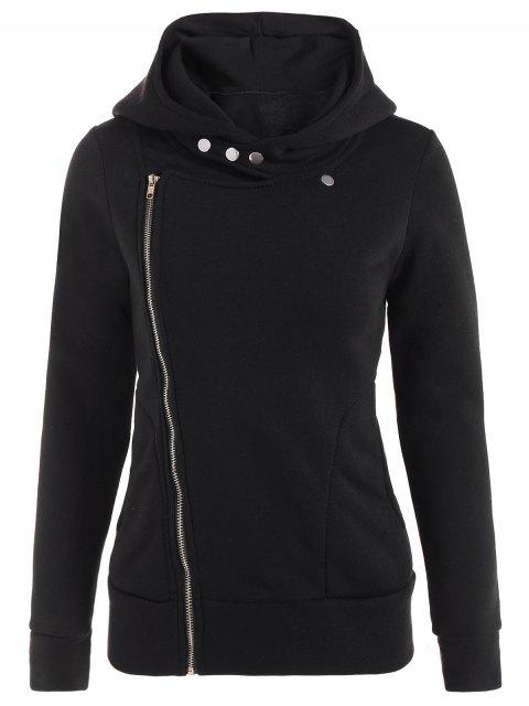 new Fleece Inner Asymmetric Zip Hoodie - BLACK L Mobile
