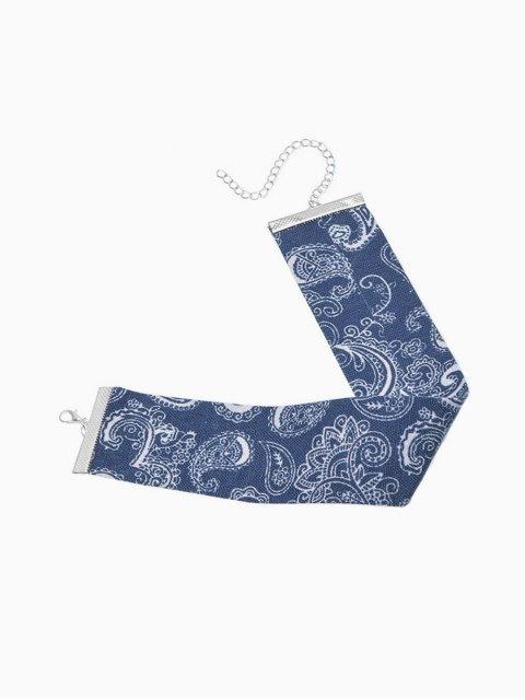buy Print Denim Choker Necklace - CERULEAN  Mobile