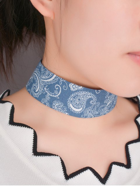 womens Graphic Print Denim Choker Necklace - BLUE  Mobile