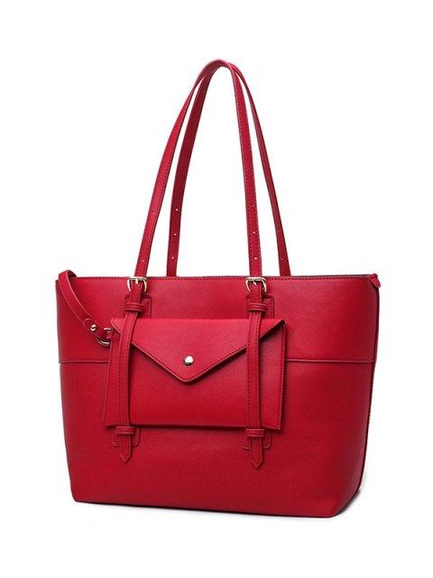 women Buckle Strap PU Leather Handbag Set - RED  Mobile