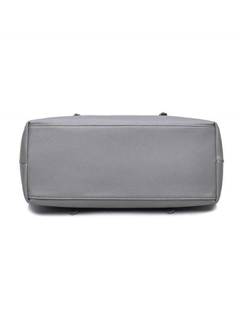ladies Buckle Strap PU Leather Handbag Set - BLACK  Mobile