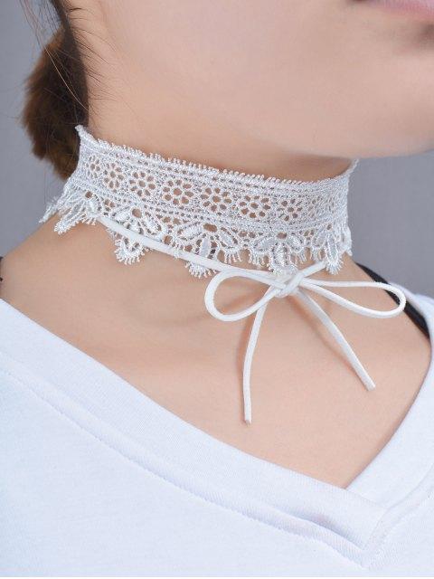 women Lace Bows Flower Choker Necklace - WHITE  Mobile