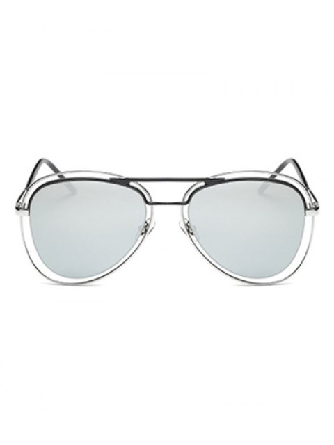 fancy Double Rims Mirrored Pilot Sunglasses -   Mobile