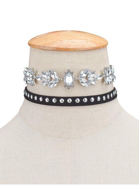 lady 2PCS Faux Crystal Rivets Velvet Chokers - BLACK  Mobile